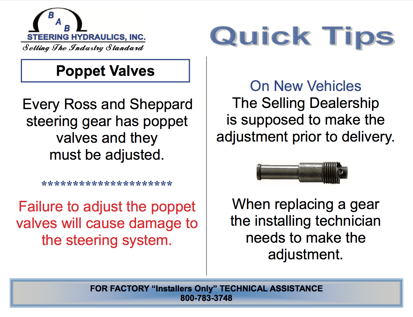 poppet valves for steering