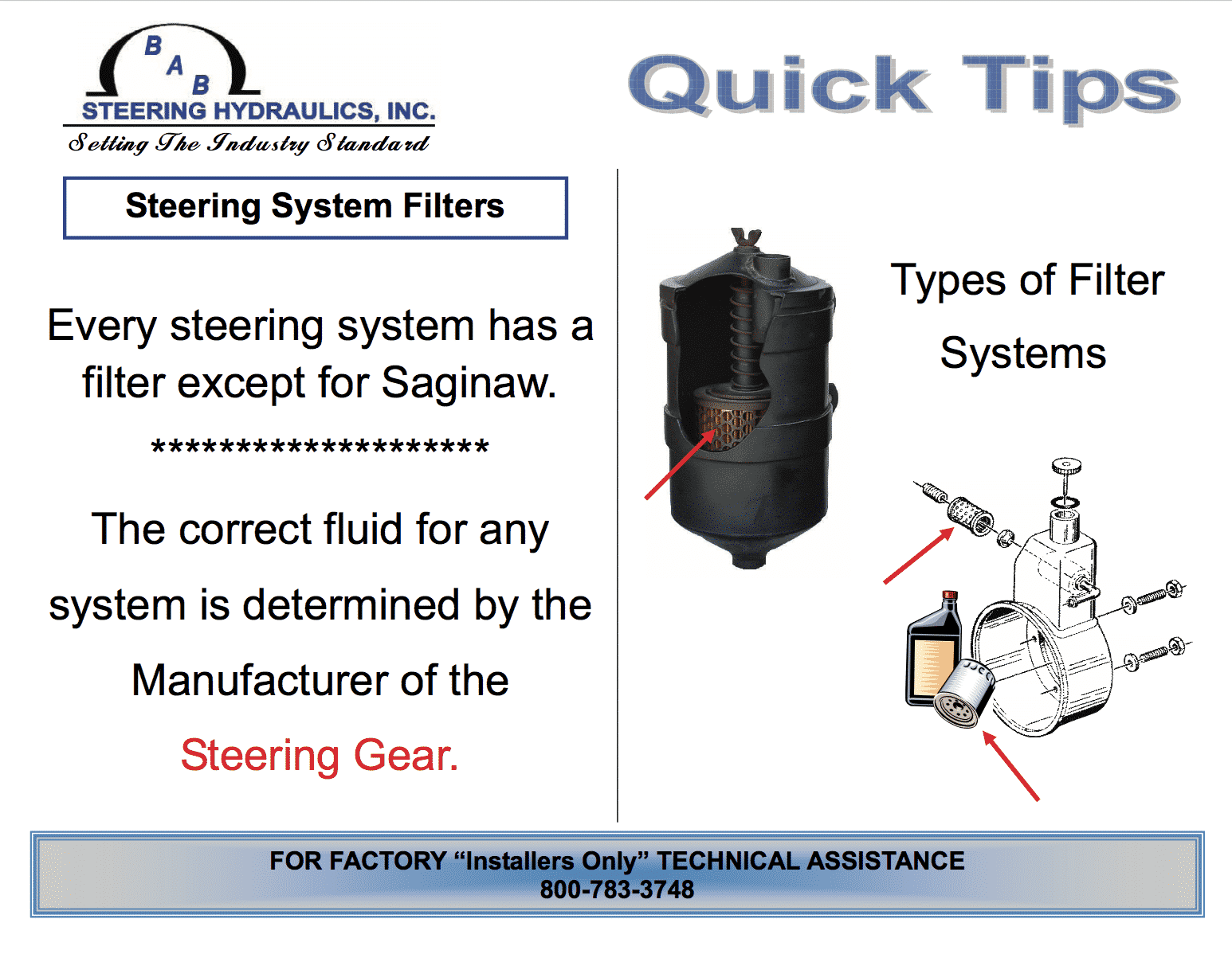 steering system filters